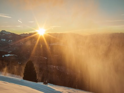 Carezza Ski winter sunset snow cannon