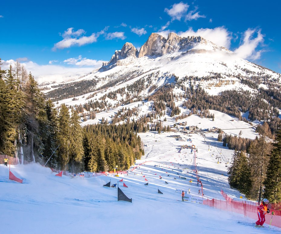Worldcup Pra di Tori run panorama Catinaccio start